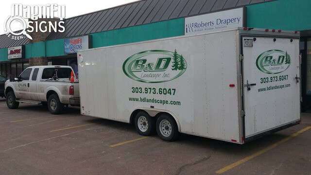 Landscape contractor work trailer graphics - vehicle wraps and custom vehicle lettering with Magnify Signs