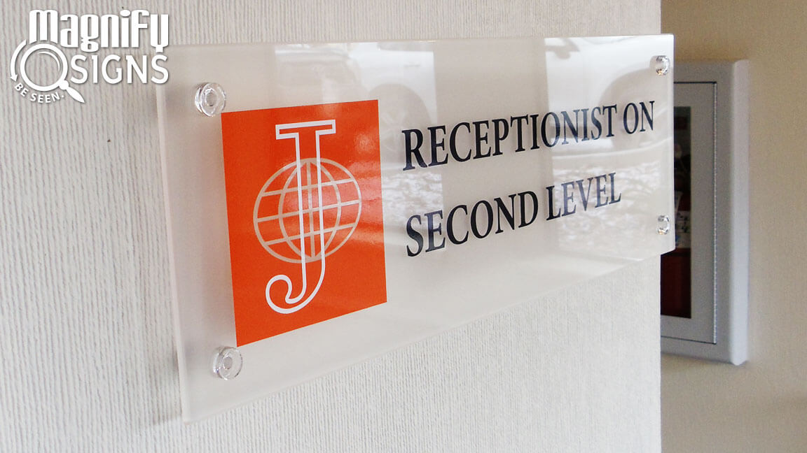 Acrylic reception area signs Denver