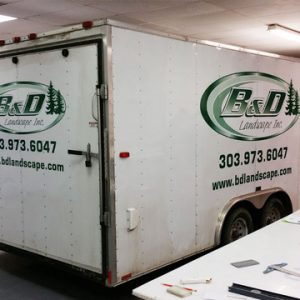 Contractor trailer and truck lettering Denver