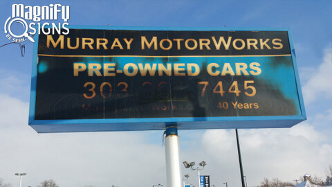Lightbox cabinet signs for Auto Dealers in Denver
