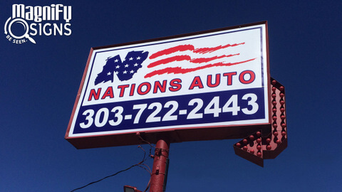 Cabinet signs for Auto Dealers Denver