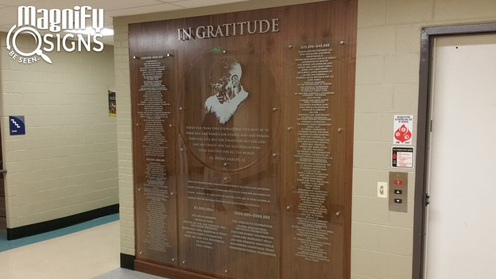 Arrupe Jesuit Glass Donor Wall