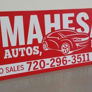 Aluminum sign for Mahesa Auto