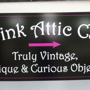 Aluminum sign for Pink Attic Cat