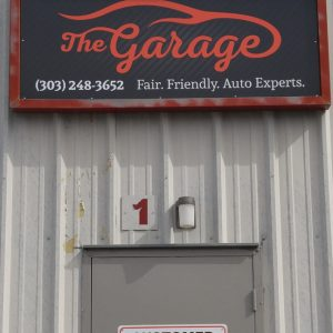 Aluminum sign for The Garage