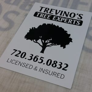 Aluminum sign for Trevinos