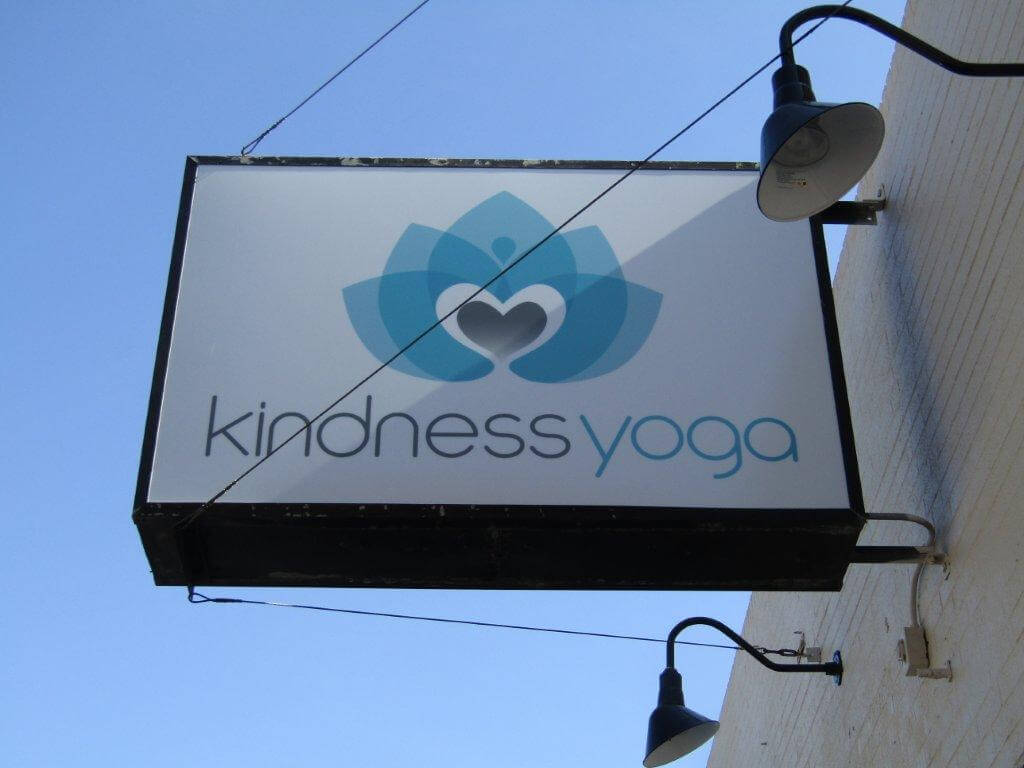 Kindness Yoga Light Cabinet Blade Sign
