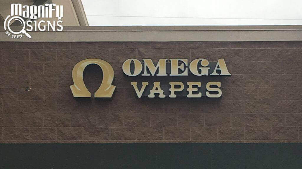 Channel Letters Sign and Logo Box for Omega Vapes