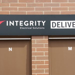 Exterior Custom Aluminum Wayfinding sign for Integrity Electric Solutions in Golden, CO