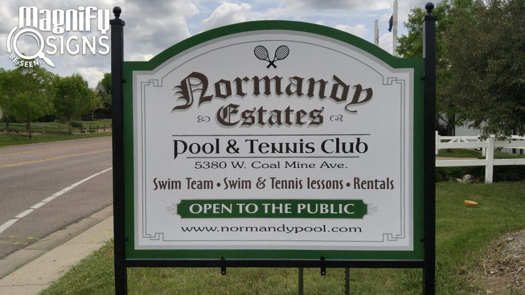 Alupanel sign for Normandy Swim Club in Littleton, CO