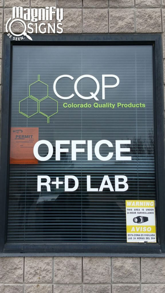 Cut Window Vinyl Lettering sign for CQP in Englewood, CO