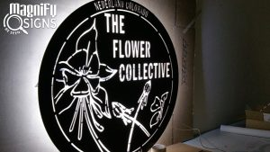 Custom Cut Aluminum LED sign for Flower Collective in Nederland, CO