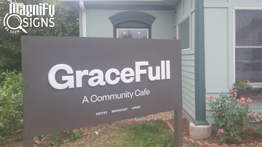 Exterior Aluminum Post Panel sign for GraceFull Cafe in Littleton, CO