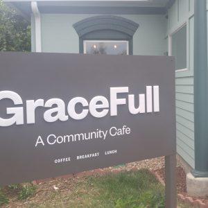 Exterior Aluminum Post Panel sign for GraceFull Cafe in Littleton, CO