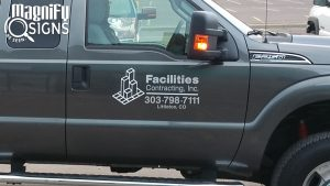 Vehicle Vinyl Lettering and Logo sign for a Facilities Contracting Truck in Littleton, CO