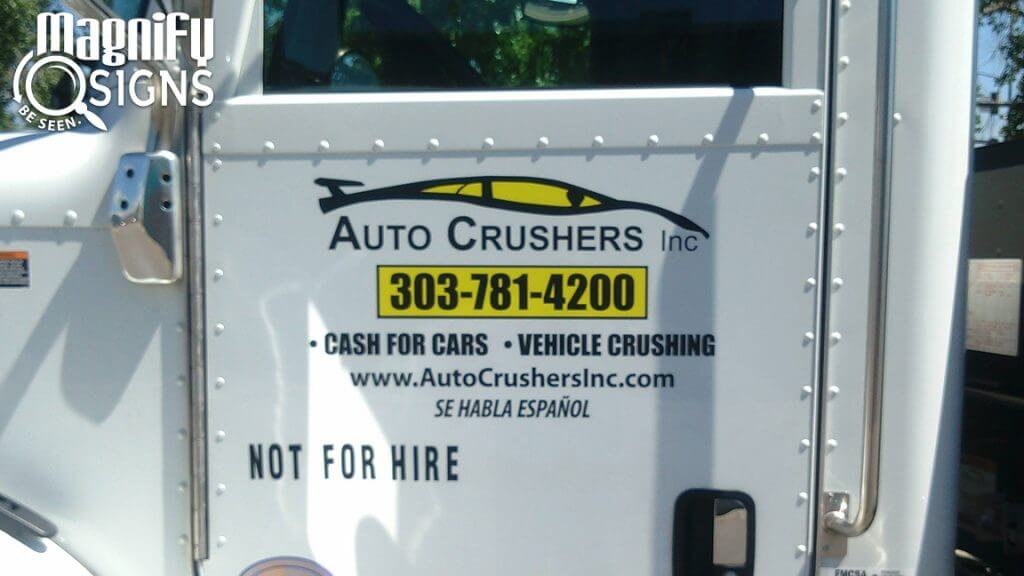Custom Cut Vehicle Vinyl Lettering and Logo sign for Auto Crushers in Englewood, CO