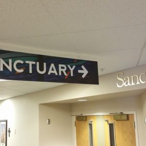 Acrylic Wayfidning sign for South Suburban Church in Littleton, CO