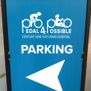 A-Frame sign for Pedal for Possible in Denver, CO