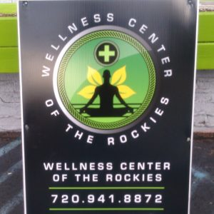 A-Frame sign for Wellness Center of the Rockies in Denver, CO