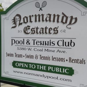 AluPanel Post and Panel sign for Normandy Swim Club in Littleton, CO