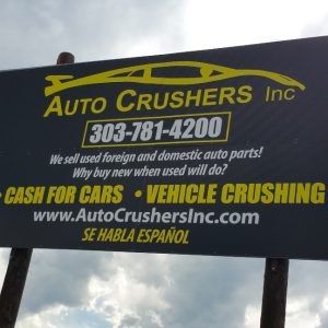 Aluminum sign for Auto Crushers in Englewood, CO