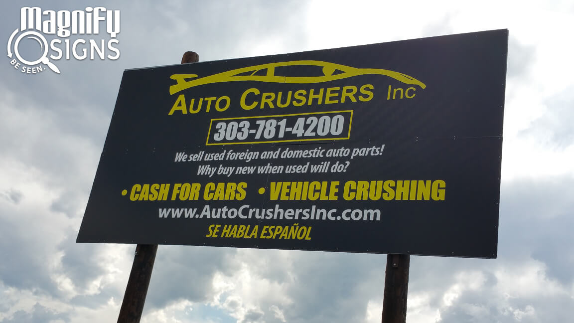 Alupanel Sign For Auto Crushers In Englewood Co Custom