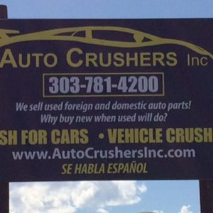 Aluminum Post and Panel sign for Auto Crushers in Englewood, CO
