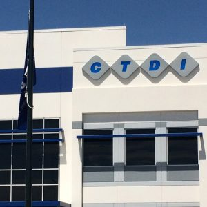 Routed Aluminum Exterior Sign for CTDI in Aurora, CO