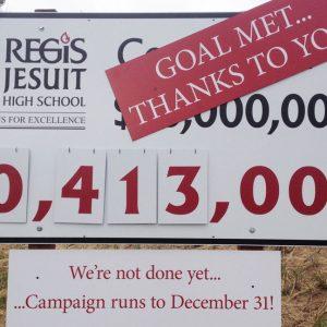 Aluminum sign for Regis Jesuit HS in Denver, CO
