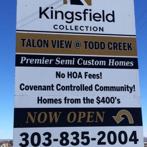 Post and Panel sign for Kingsfield Collection in Denver, CO