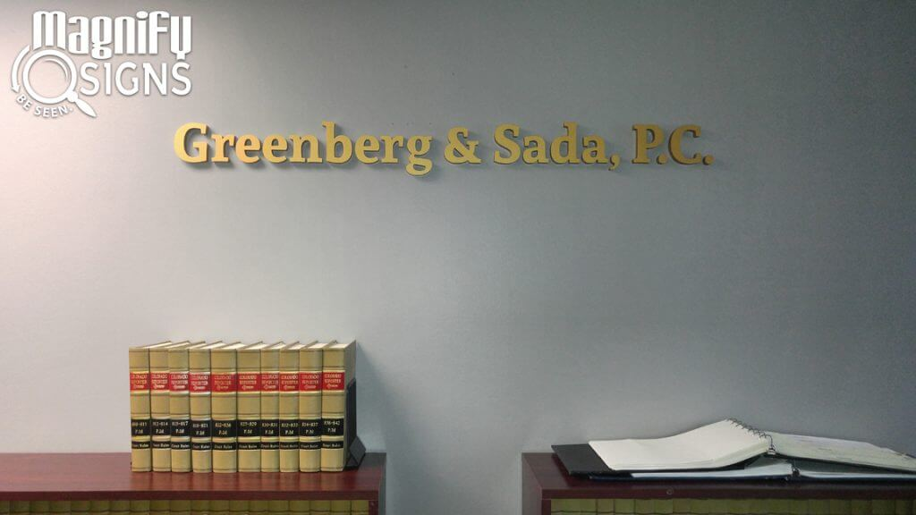 Custom Routed Acrylic Letters for Greenberg and Sada P.C. in Englewood, CO