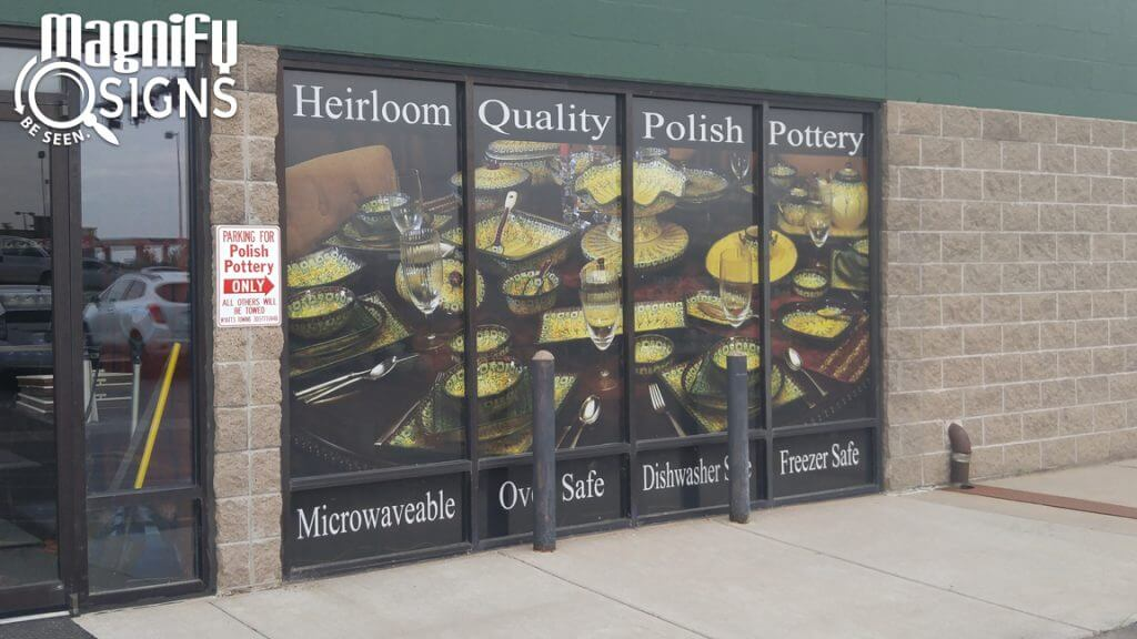 Perforated Window Vinyl sign for Polish Pottery in Englewood, CO
