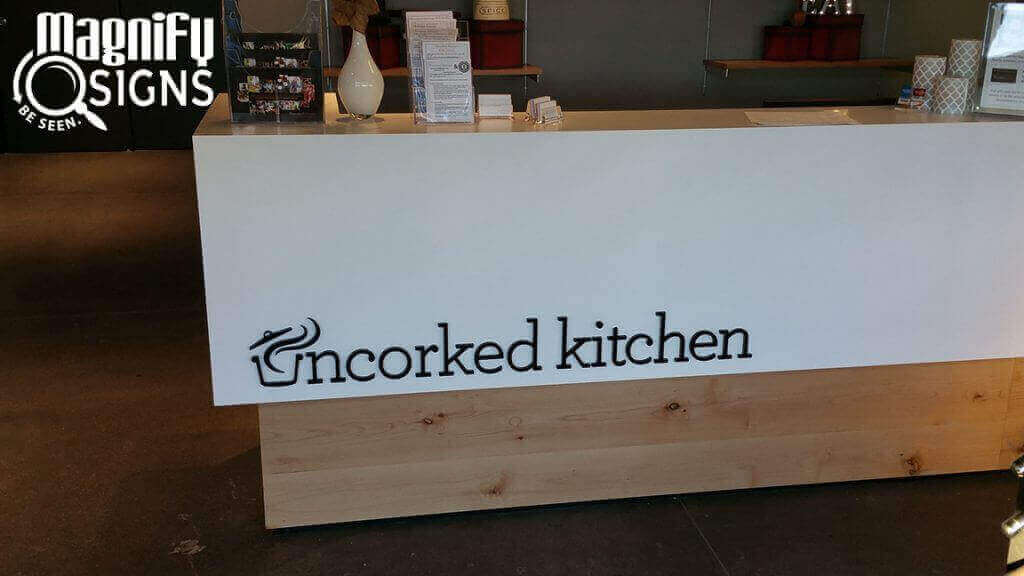 Custom Cut Acrylic Lobby Sign for Uncorked Kitchen in Centennial, CO