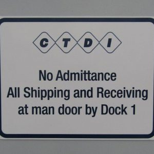 Aluminum Dock Sign for CTDI in Aurora, CO