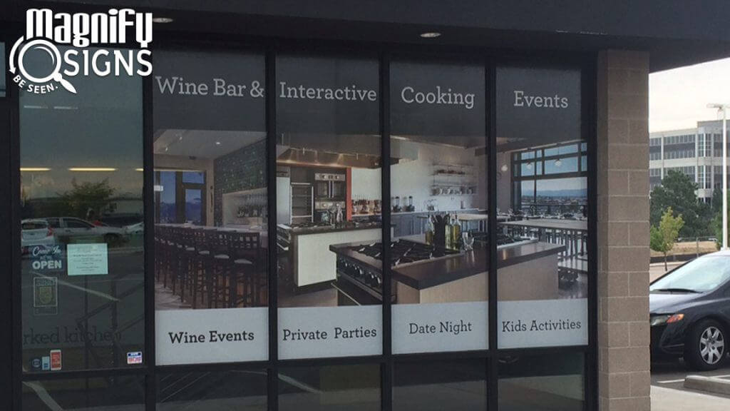 Custom Perforated Window Vinyl Graphics for Uncorked Kitchen in Centennial, CO