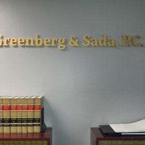 Custom Acrylic Letters for Greenberg & Sada Law in Englewood, CO