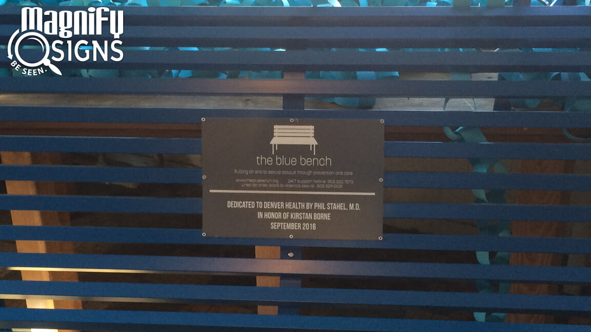 Acrylic RowMark Plaque for Blue Bench in Denver, CO