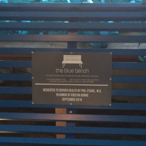 Acrylic RowMark Plaque for Blue Bench in Denver