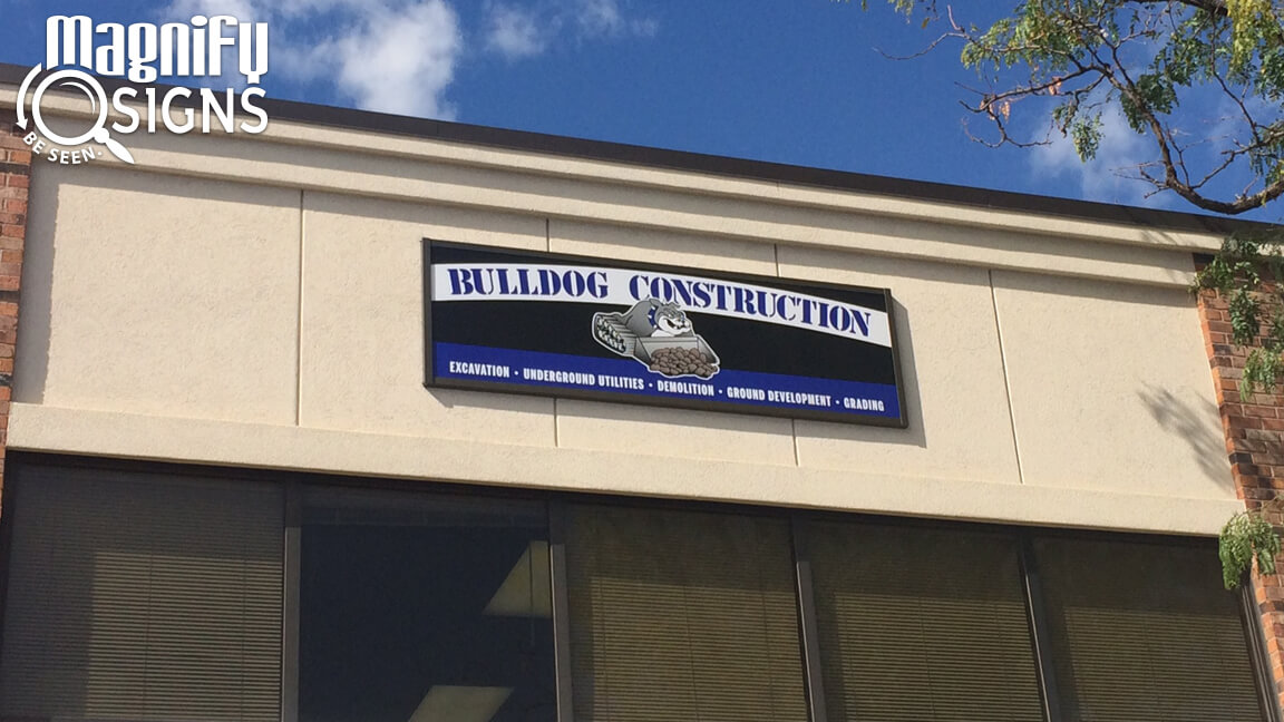 Wide Format Print mounted on AluPanel in Sign Frame for Bulldog Construction in Centennial, CO