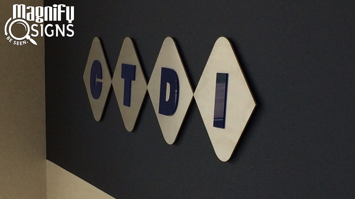 Custom Routed Aluminum and Acrylic Lobby Sign for CTDI in Aurora, CO