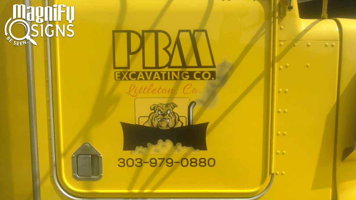 Vehicle Vinyl Graphics And Lettering For Pbm Excavating In