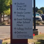 Wayfinding Sign Towers with Cut Vinyl Lettering for Regis Jesuit HS in Aurora, CO