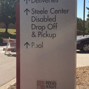 Wayfinding Towers with Black Cut Vinyl Lettering in Aurora, CO