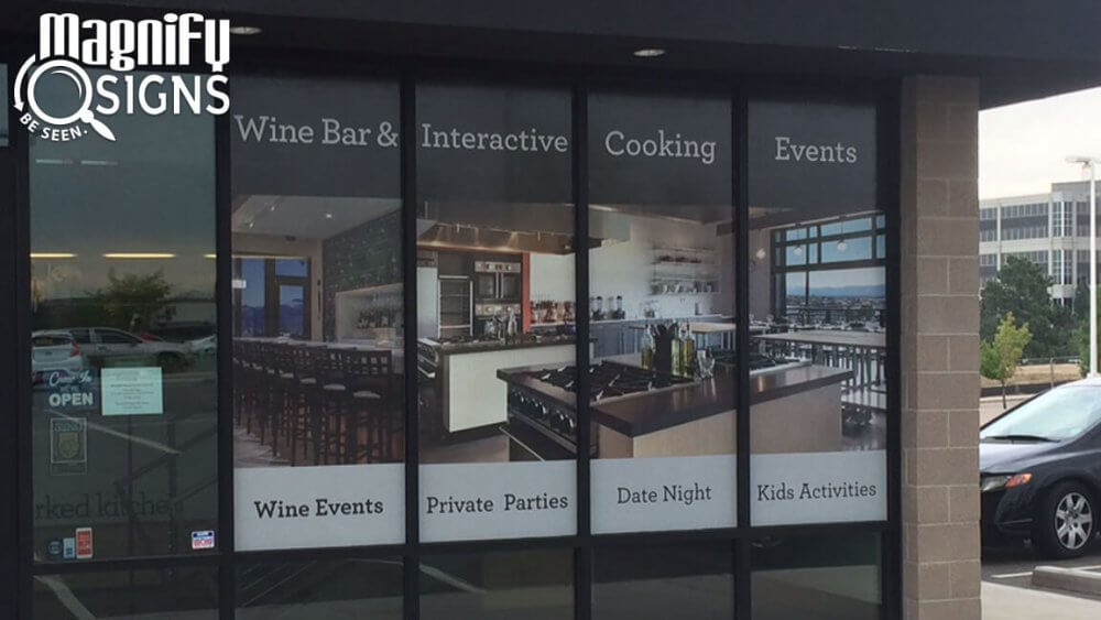 Perforated Window Vinyl Panels for Uncorked Kitchen in Centennial, CO