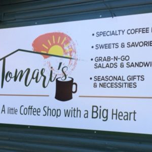 Aluminum Panel Sign with Wide Format Print mounted on the face for Tomari's in Conifer, CO
