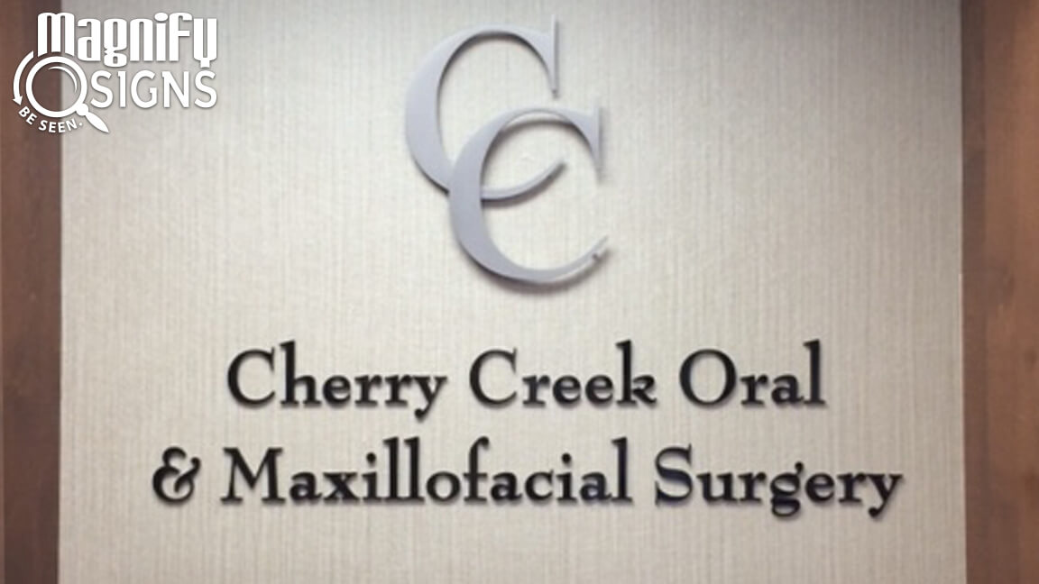 Custom Routed Aluminum with Brushed Metal Laminate Form Letters for Cherry Creek Oral and Maxillofacial Surgery in Denver, CO