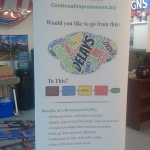 Retractable Banner Stand for Continual Improvement Denver