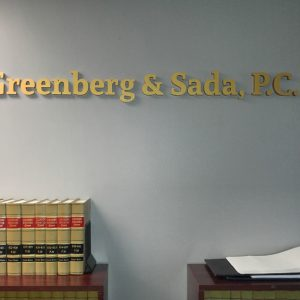 Custom Acrylic Letters for the office of Greenberg & Sada, PC in Englewood, CO
