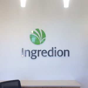 Custom Acrylic Lobby Sign for Ingredion in Centennial, CO