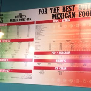 Aluminum Panel Menu Board for The Original Chubby's in Denver, CO